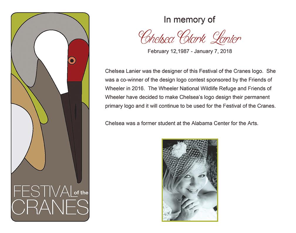 Festival of the Cranes logo designer Chelsea Lanier